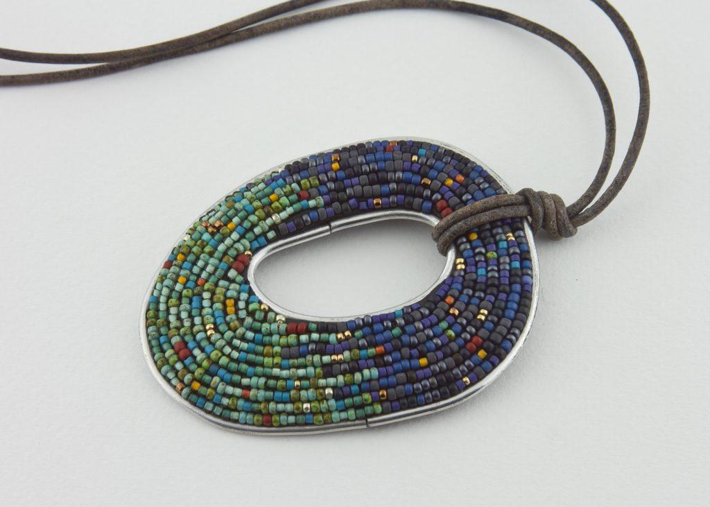Seed bead mosaic pendant